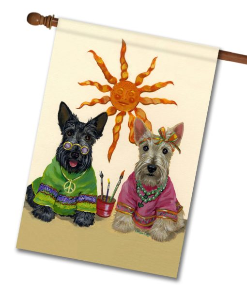 Scottish Terrier Hippie Dippies - House Flag - 28'' x 40''