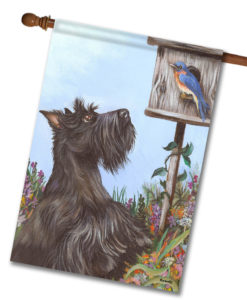 Scottish Terrier Bluebird - House Flag - 28'' x 40''