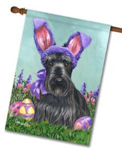 Scottish Terrier Egg Hunt - House Flag - 28'' x 40''