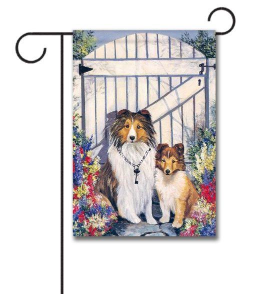 Shetland Sheepdog Garden Gate- Garden Flag - 12.5'' x 18''