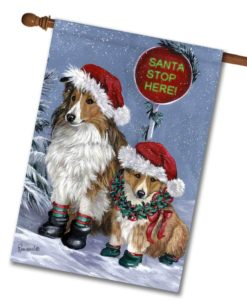 Shetland Sheepdog Christmas- House Flag - 28'' x 40''