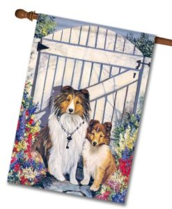 Shetland Sheepdog Garden Gate - House Flag - 28'' x 40''