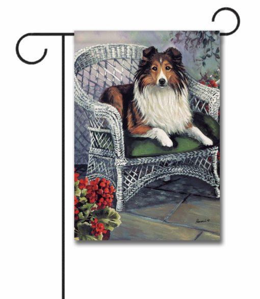 Shetland Sheepdog Patio Jewel - Garden Flag - 12.5'' x 18''