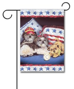 Shih Tzu Americana Sweethearts- Garden Flag - 12.5'' x 18''
