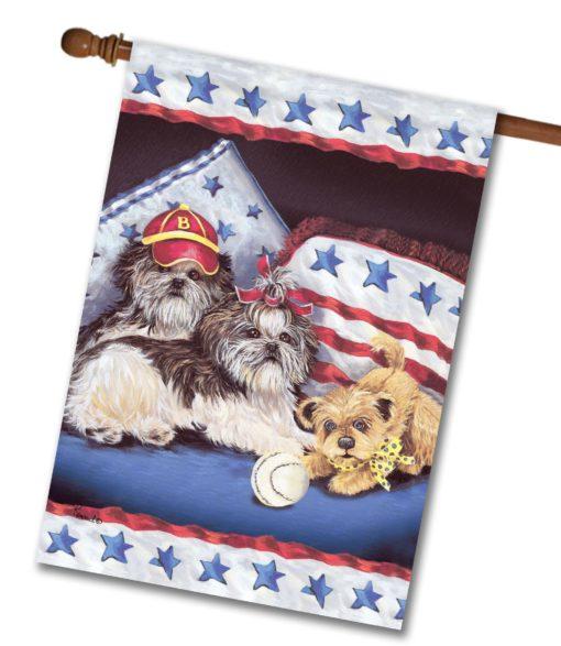Shih Tzu Americana Sweethearts- House Flag - 28'' x 40''