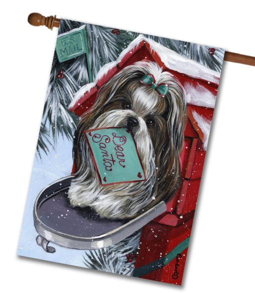 Shih Tzu Dear Santa- House Flag - 28'' x 40''