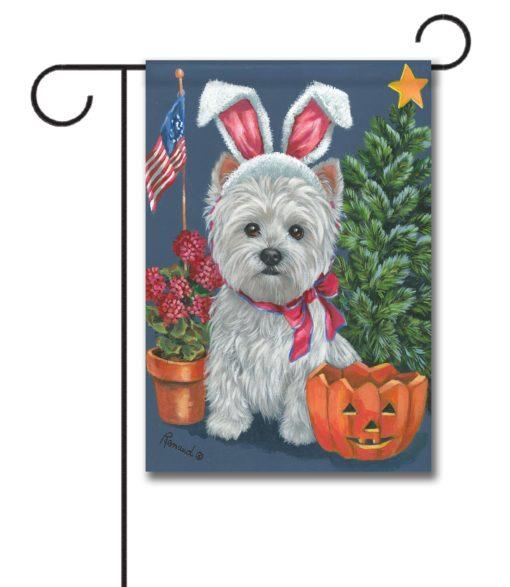 West Highland Terrier 4 Seasons - Garden Flag - 12.5'' x 18''