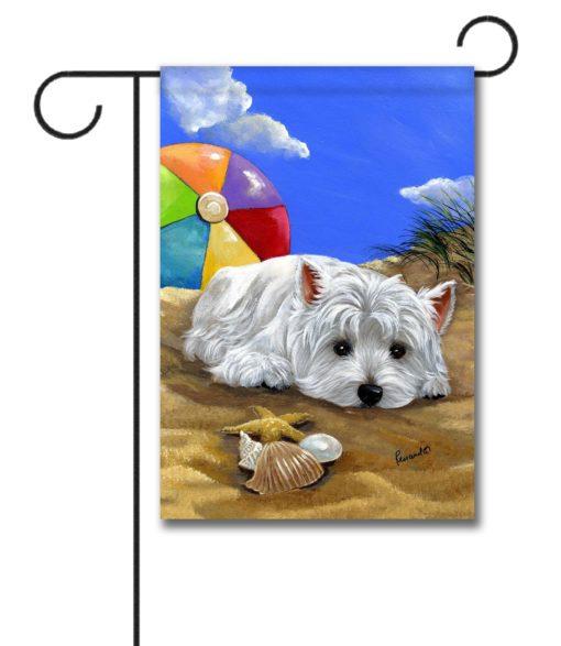 West Highland Terrier Beach - Garden Flag - 12.5'' x 18''