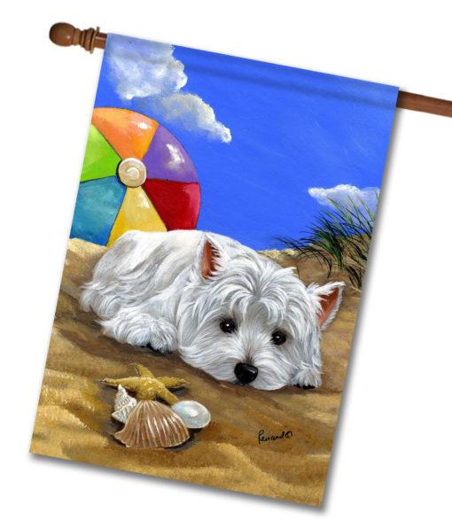 West Highland Terrier Beach- House Flag - 28'' x 40''