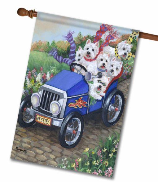 West Highland Terrier Hot Rod - House Flag - 28'' x 40''