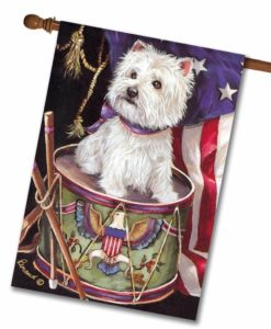 West Highland Terrier Patriotic - House Flag - 28'' x 40''