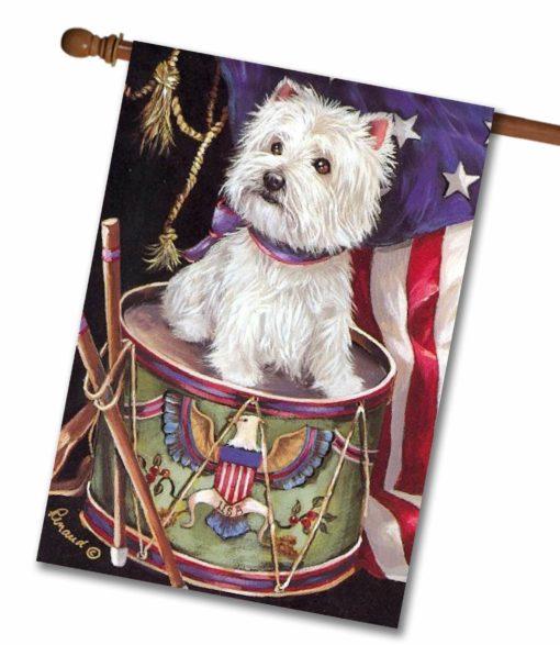 West Highland Terrier Patriotic - House Flag - 28'' x 40''