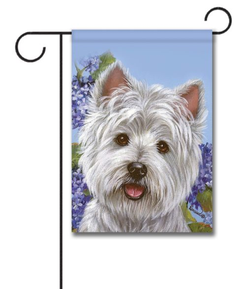 West Highland Terrier Hydrangeas - Garden Flag - 12.5'' x 18''