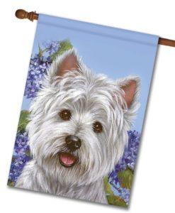 West Highland Terrier Hydrangeas - House Flag - 28'' x 40''