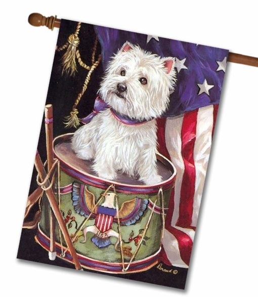 West Highland Terrier Lil Drummer- House Flag - 28'' x 40''