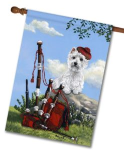 West Highland Terrier Scottie Piper- House Flag - 28'' x 40''