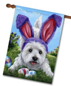 West Highland Terrier Egg Hunt- House Flag - 28'' x 40''