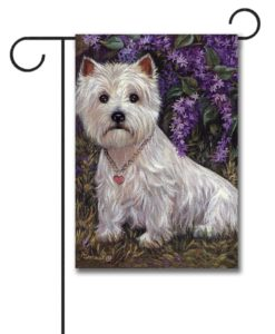 West Highland Terrier Lily & Lilacs - Garden Flag - 12.5'' x 18''