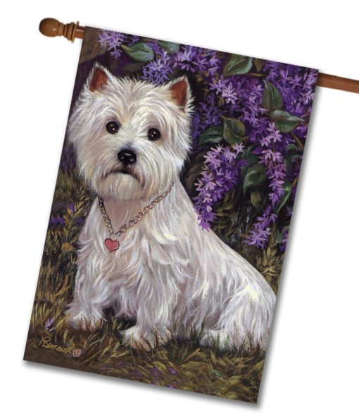 West Highland Terrier Lily & Lilacs - House Flag - 28'' x 40''