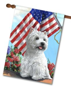 West Highland Terrier USA- House Flag - 28'' x 40''
