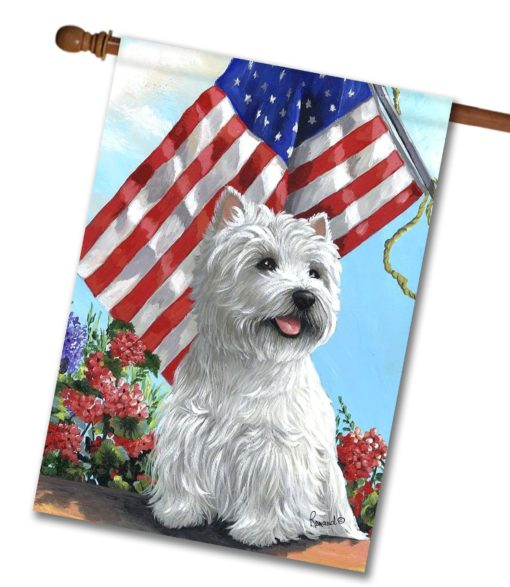West Highland Terrier USA- House Flag - 28'' x 40''