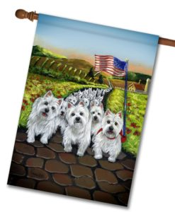 West Highland Terrier Walk- House Flag - 28'' x 40''