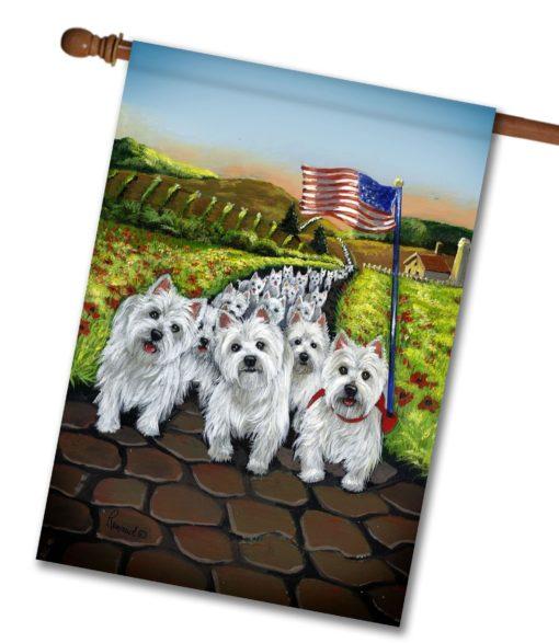 West Highland Terrier Walk- House Flag - 28'' x 40''