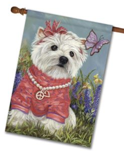 West Highland Terrier Westie Butterfly- House Flag - 28'' x 40''