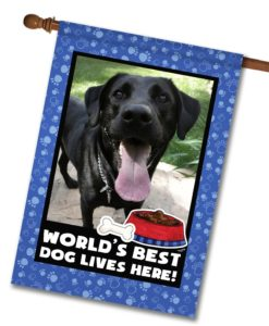 "World's Best Dog - Photo House Flag 28""x40"""