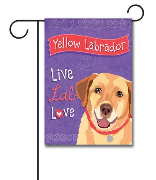 Yellow Labrador Live Lab Love- Garden Flag - 12.5'' x 18''