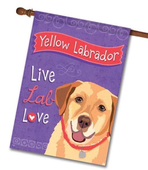 Yellow Labrador Live Lab Love- House Flag - 28'' x 40''