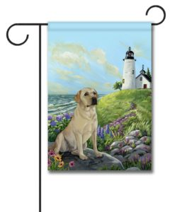 Yellow Labrador Retriever Rocky Point- Garden Flag - 12.5'' x 18''