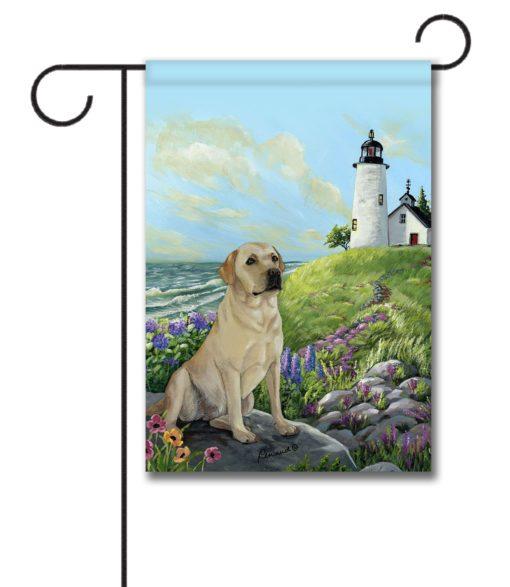 Yellow Labrador Retriever Rocky Point- Garden Flag - 12.5'' x 18''