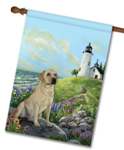 Yellow Labrador Retriever Rocky Point- House Flag - 28'' x 40''