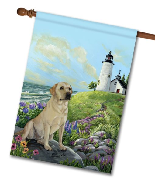 Yellow Labrador Retriever Rocky Point- House Flag - 28'' x 40''