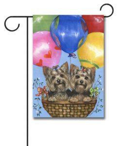 Yorkshire Terrier Baloons- Garden Flag - 12.5'' x 18''