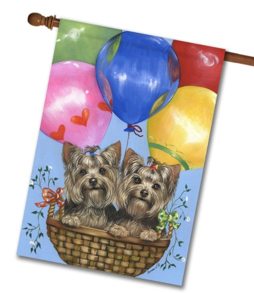 Yorkshire Terrier Baloons- House Flag - 28'' x 40''