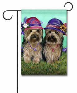 Yorkshire Terrier Sisters - Garden Flag - 12.5'' x 18''