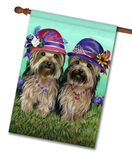 Yorkshire Terrier Sisters - House Flag - 28'' x 40''