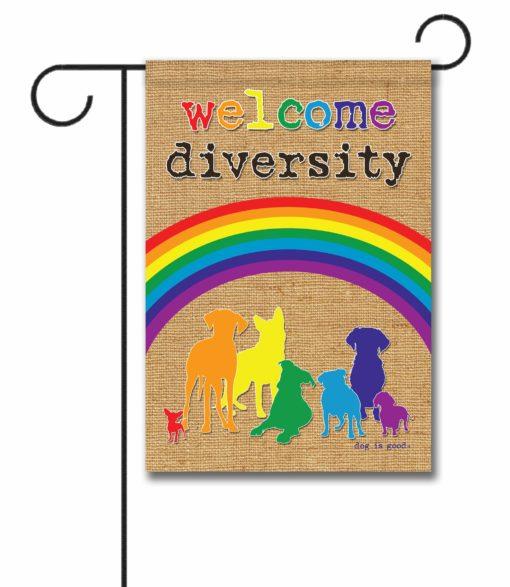 Welcome Diversity Rainbow - Garden Flag - 12.5'' x 18''