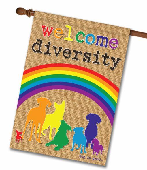 Welcome Diversity Rainbow - House Flag - 28'' x 40''