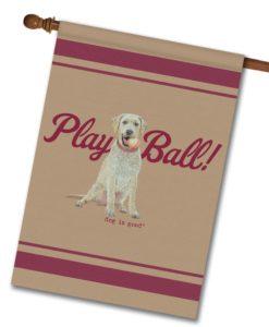 Play Ball - House Flag - 28'' x 40''