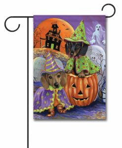 Dachshund Haunted House - Garden Flag - 12.5'' x 18''