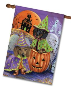 Dachshund Haunted House - House Flag - 28'' x 40''