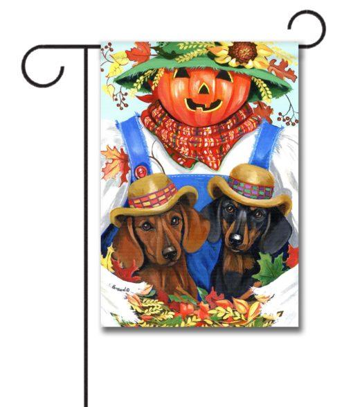 Dachshund Fall Scarecrow - Garden Flag - 12.5'' x 18''