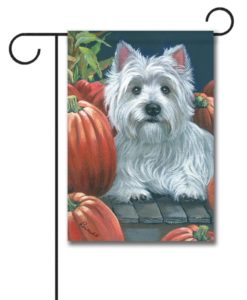 West Highland Terrier Pumpkins On My Porch - Garden Flag - 12.5'' x 18''