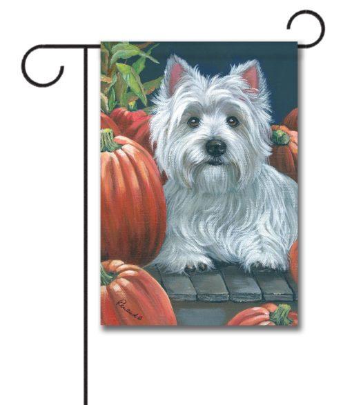 West Highland Terrier Pumpkins On My Porch - Garden Flag - 12.5'' x 18''