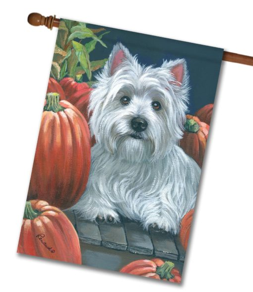 West Highland Terrier Pumpkins On My Porch - House Flag - 28'' x 40''