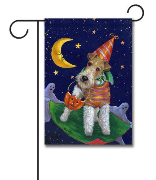 Fox Terrier Treat or Trick - Garden Flag - 12.5'' x 18''