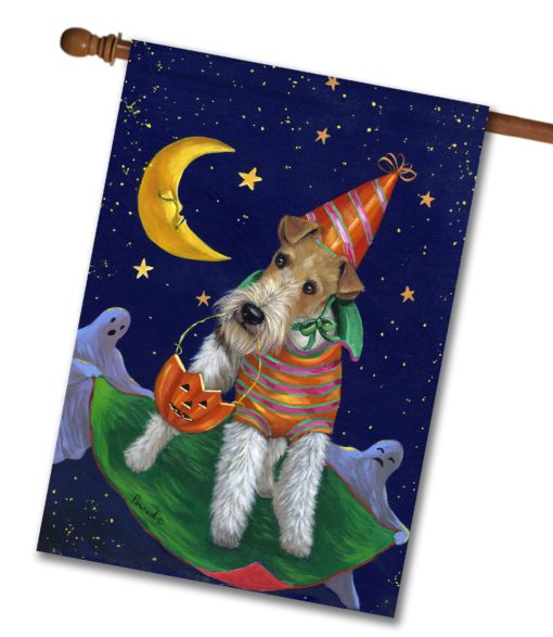 Fox Terrier Treat or Trick - House Flag - 28'' x 40''